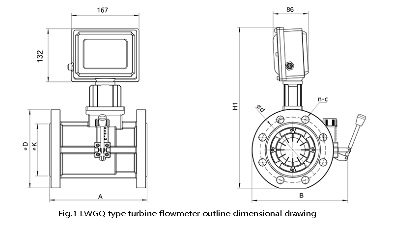 Turbine flowmeter outline dimensional drawing