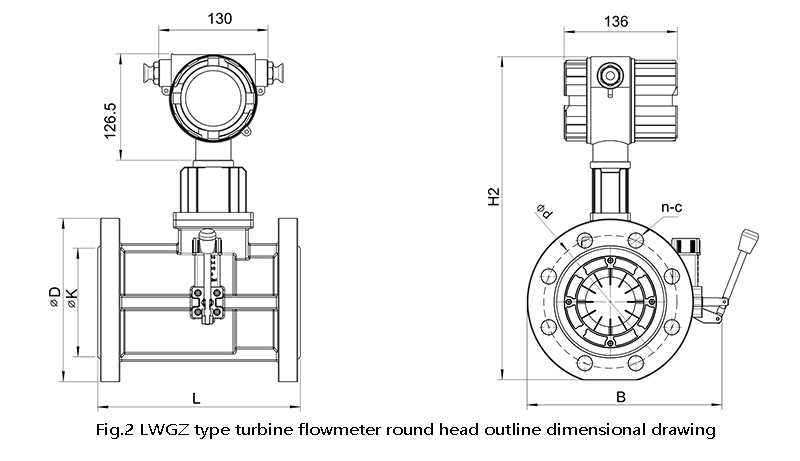 Turbine flowmeter round head outline dimensional drawing